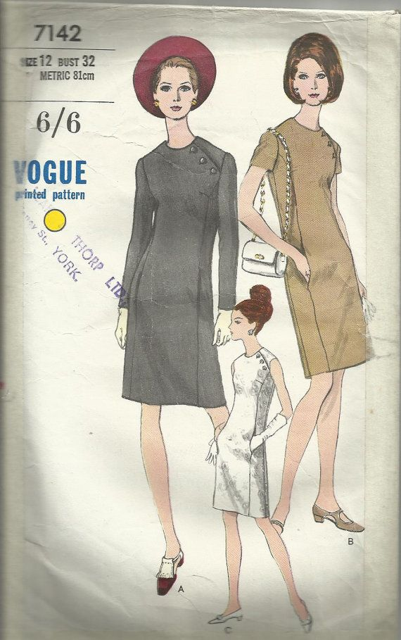 Vintage Sewing Pattern. Vogue 7142 | Vintage sewing patterns, Sewing ...