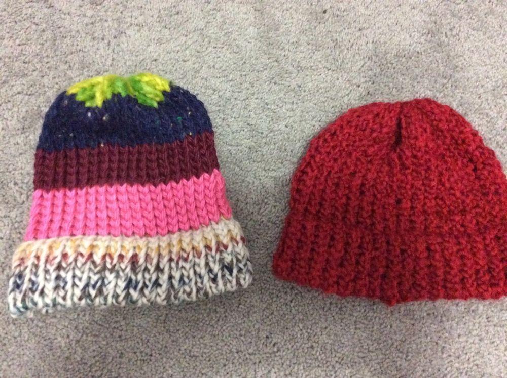 Handmade Lot of 2 Knitted Hats | eBay