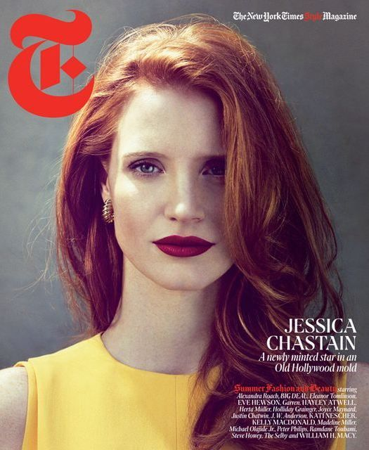 jessica chastain looking vintage gorgeous on the cover of the NYT Mag