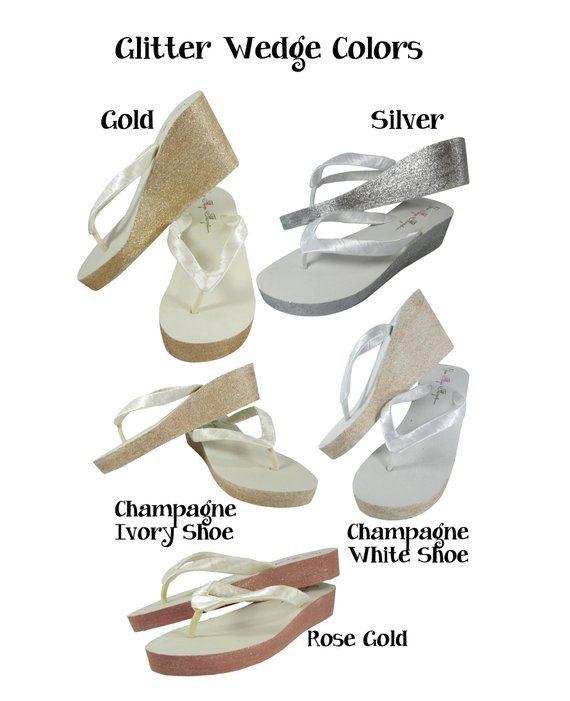 977786766e654 Wedding flip flops, Champagne Gold & Ivory Glitter Wedge Flip Flops ...