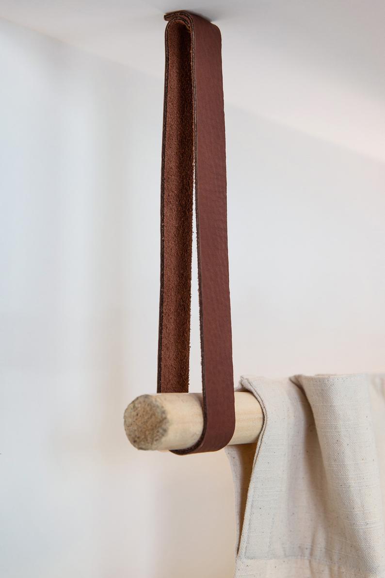 Leather hanging clothes rack rod holder ceiling mounted curtain rod bracket garment rack window treatment curtain holder Scandinavian decor#bracket #ceiling #clothes #curtain #decor #garment #hanging #holder #leather #mounted #rack #rod #scandinavian #treatment #window