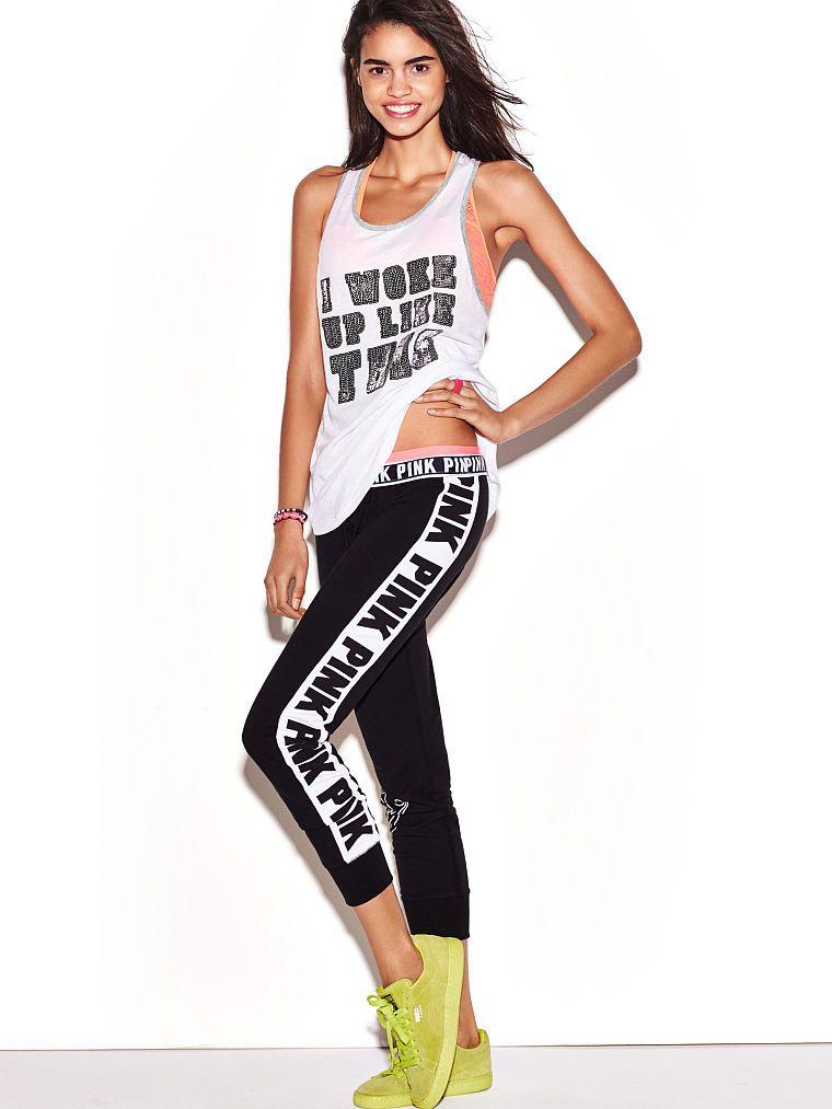 Pink Gym Pant In Black White 49 95 Vspink Lovepink Pinknation Victoriassecret