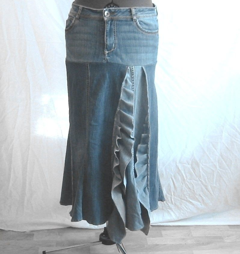 e6604aa53e47f6 Cascading ruffle denim skirt - custom made for you from your old jeans.   40.00