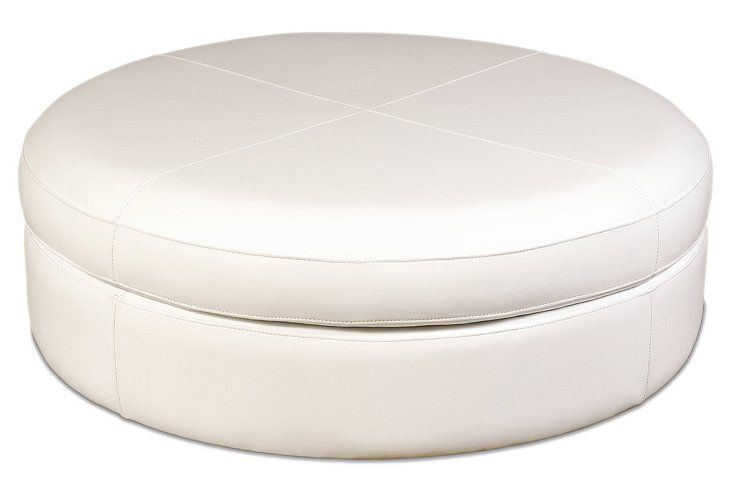 Pleasant Horizon 54 Round Leather Ottoman Ivory One Kings Lane 54 Gmtry Best Dining Table And Chair Ideas Images Gmtryco