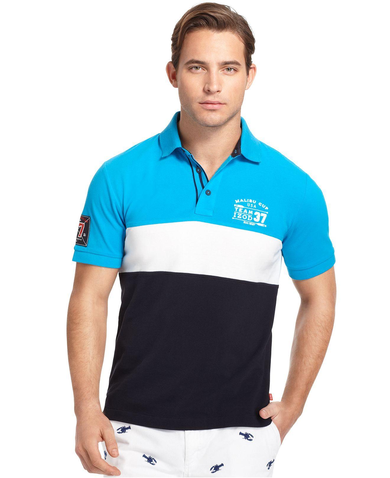 Izod malibu days shirt slim fit chest stripe polo shirt