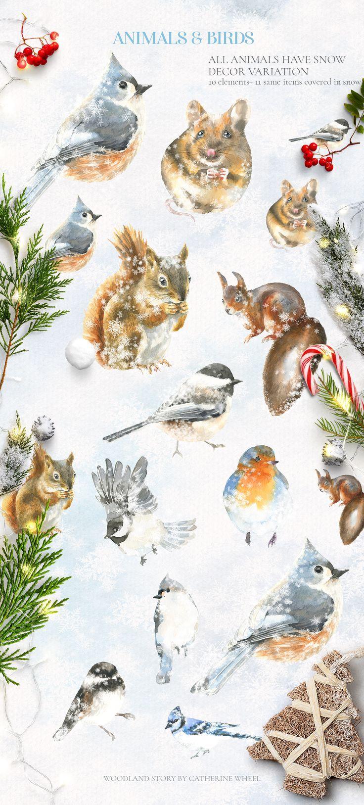 Christmas Watercolor Animal Mouse Squirrel Bird Winter
