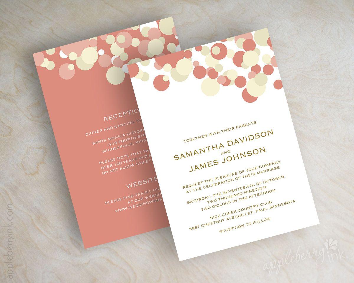 Coral and beige, tan, peach polka dot wedding invitations wedding ...
