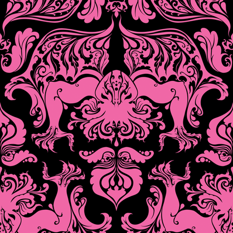I Love Craft Cthulhu Damask Pink And Black Fabric By Rosalarian On Spoonflower