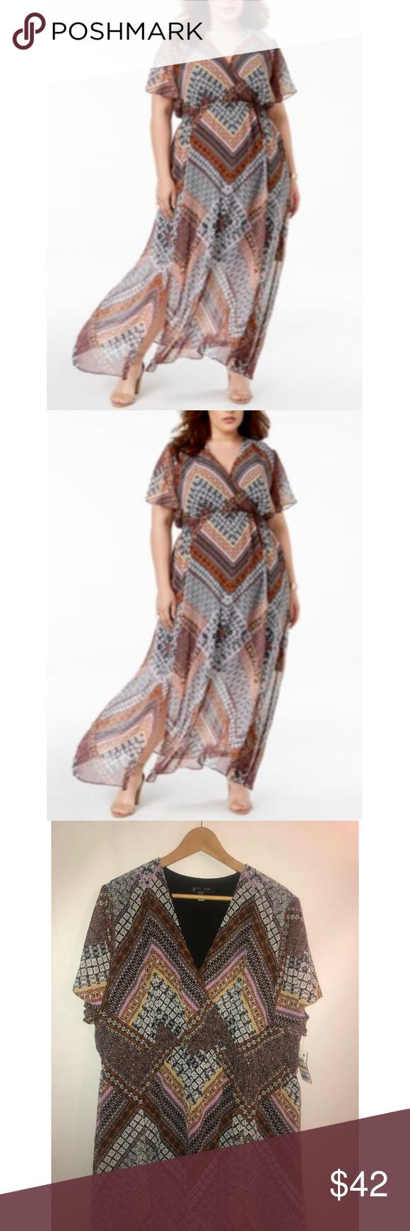Inc International Concepts Size 3x Maxi Dress Inc International Concepts Plus Size Printed Maxi Dres Maxi Dress With Sleeves Dress Sleeve Length Clothes Design [ 1740 x 580 Pixel ]
