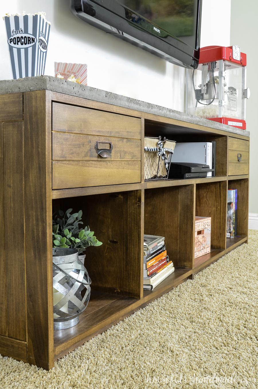 Rustic TV Stand with Concrete Top (With images) Rustic