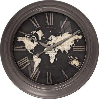 """FirsTime 12"""" World Map Wall Clock"""