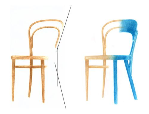 The process of design for the new bistro chair for Thonet by Robert