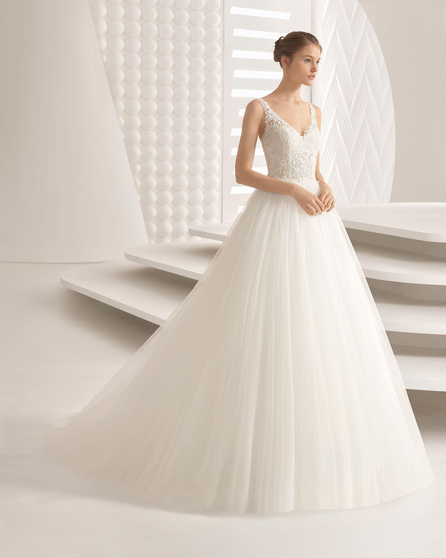 Vestido novia rosa clara alquiler