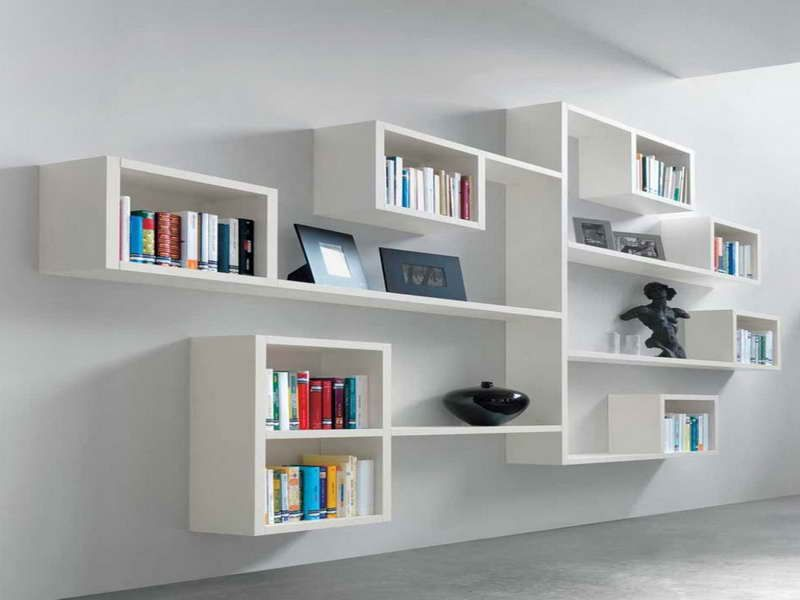 Impressive Minimalist Wall Bookshelves Design In White Finish With