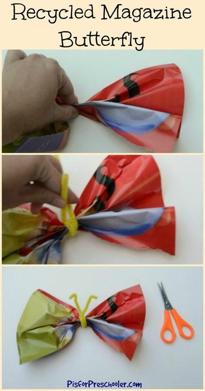 Make a butterfly with a colorful magazine page! #createrecycle