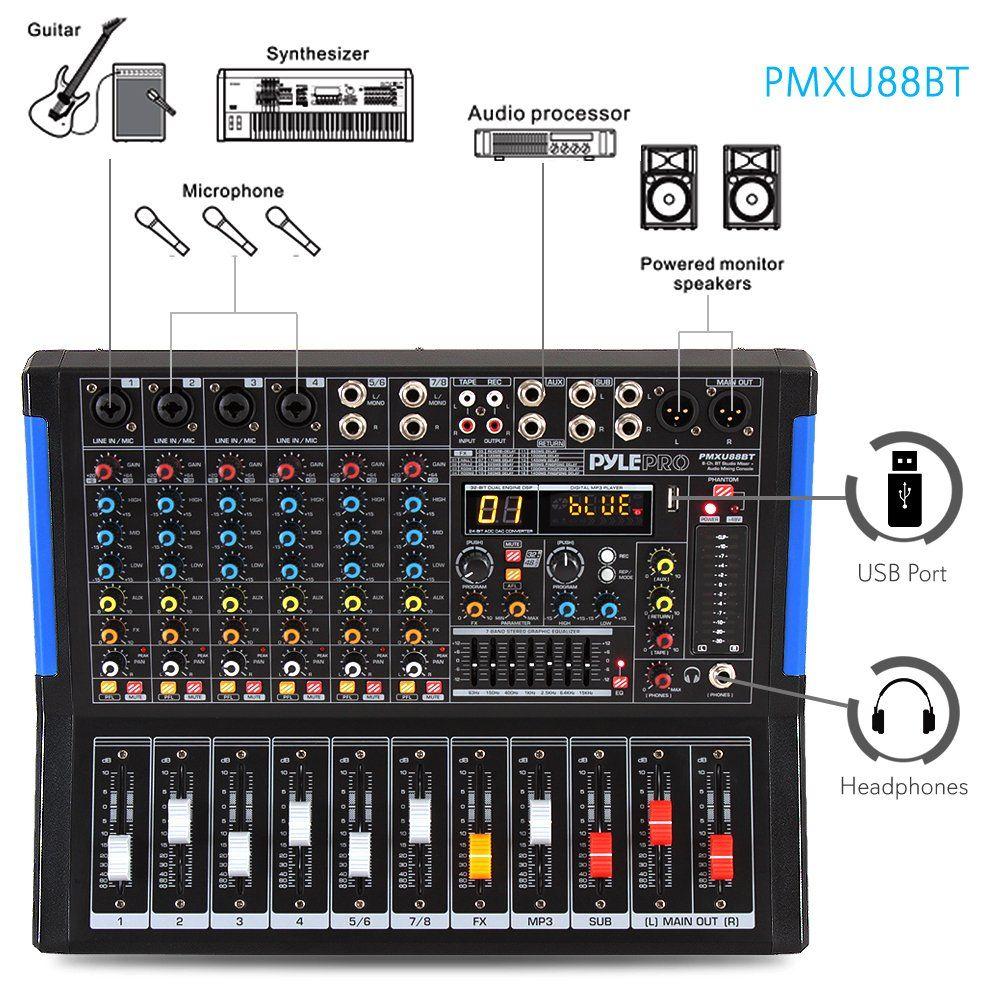 8 Channel Bluetooth Studio Audio Mixer Dj Sound Controller