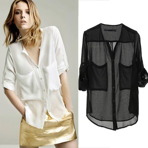 Women Collarless Button-front See-through Long Sleeve Chiffon ...