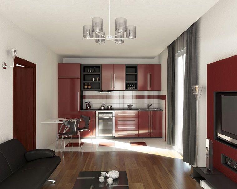 soggiorno con angolo cottura-mobili-bordeaux | Arredamento ...