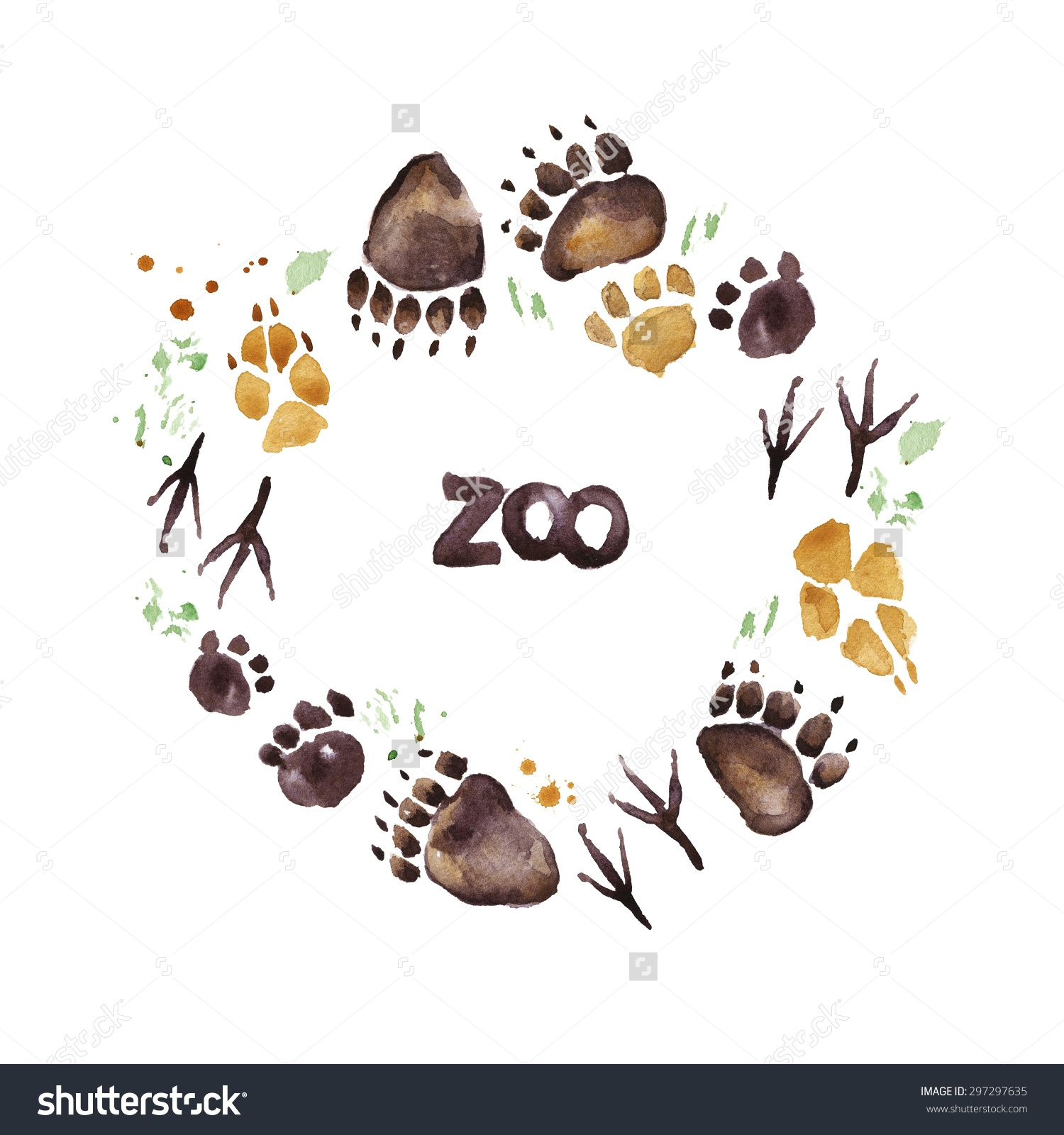 Animal Footprints Zoo Wreath Frame Watercolor Com