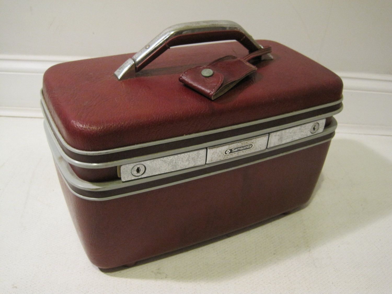 Samsonite Train Makeup Case Travel Bag Hard Shell Vintage