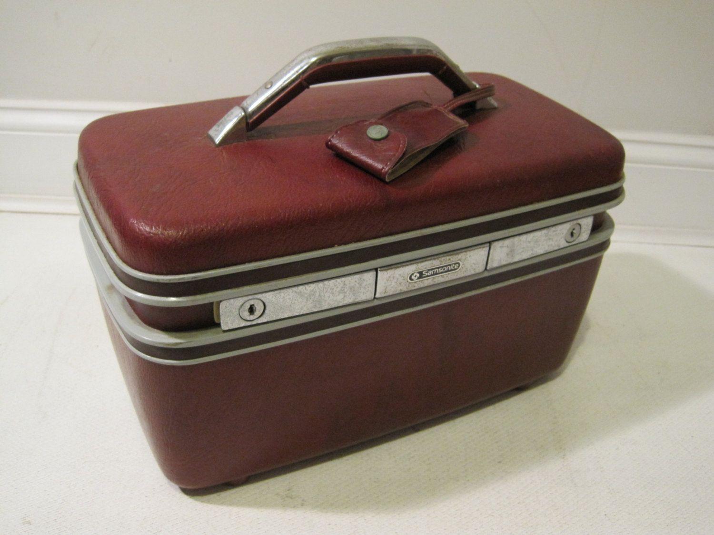 Samsonite Train Makeup Case Travel Bag Hard Shell Vintage Burgundy ...