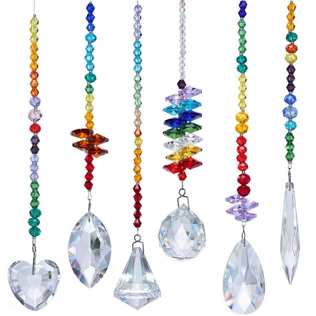 Rainbow Crystal Suncatchers Chakra Hanging Drops Prisms Pendants Window Set 6
