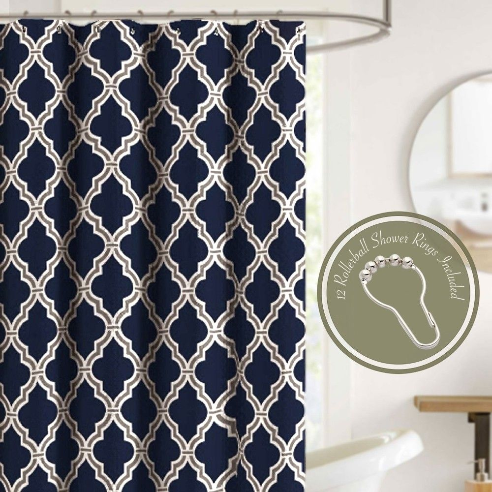Crest Home Norris Navy Blue Fabric Shower Curtain Set With 12 Roller Hooks