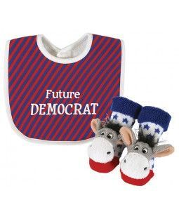 """Shake up the establishment with our Politically Correct Bib & Rattle Sock Set! Each bib proudly proclaims """"Future Democrat"""" and is paired up with an adorable pair of Donkey Rattle Socks, all in glorio"""