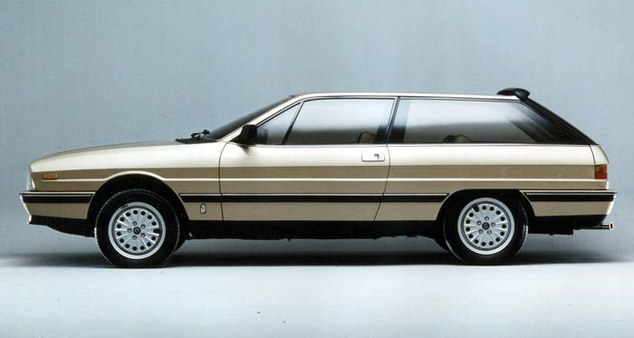 "Lancia Gamma Oligiata a 3 door ""shooting break"" version based on the Gamma Coupe designed by Pinifarina displayed at the 1982 Paris Motor Show"