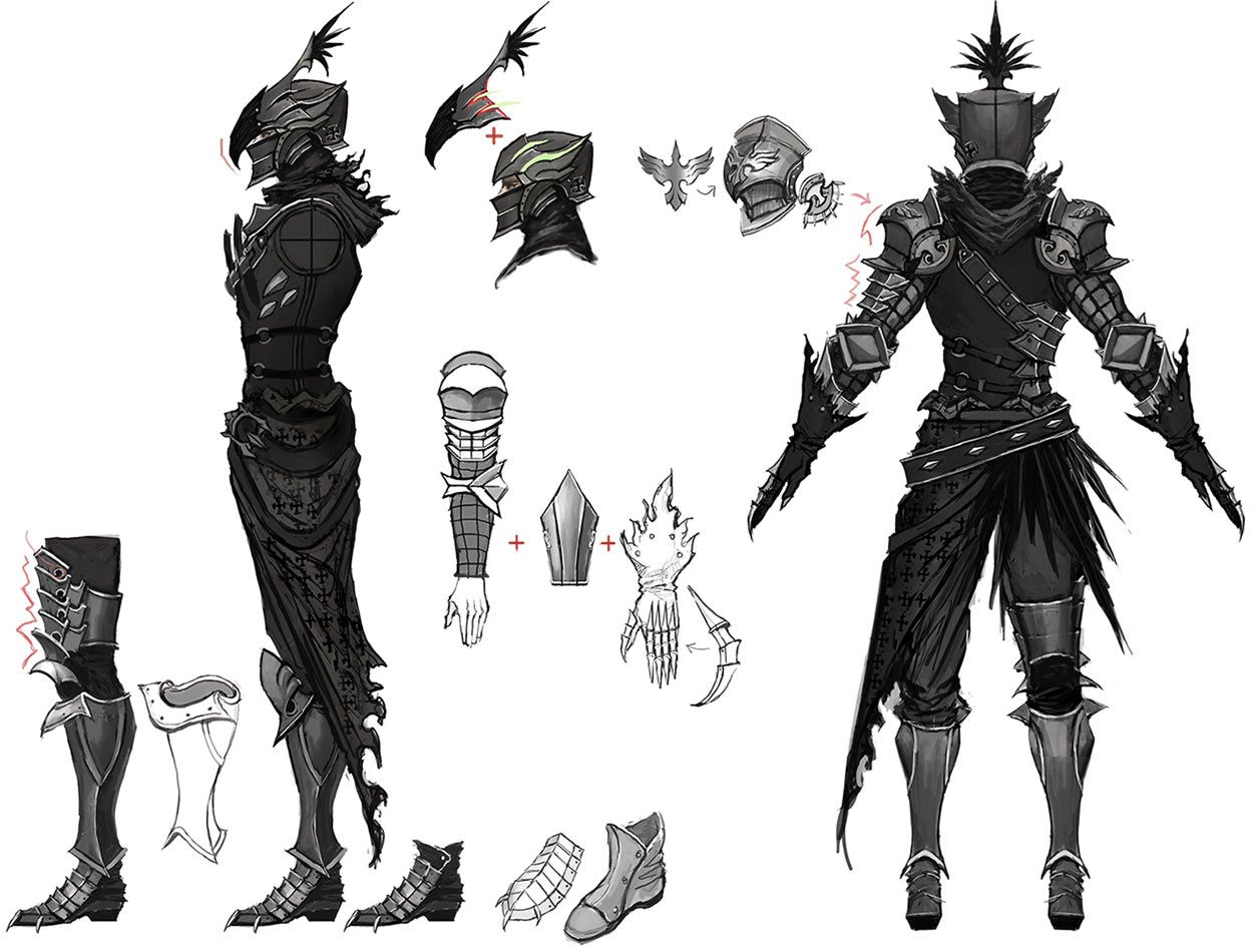 Character Design Concept Artist : Nighthawk male armour concept art from vindictus