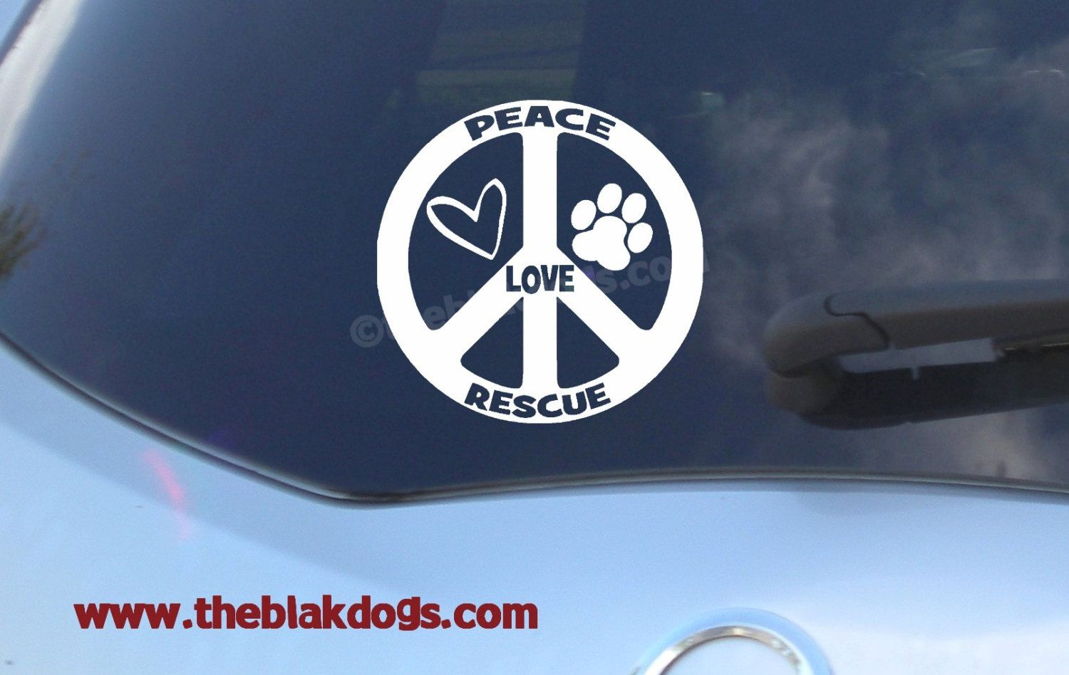 Peace Love Rescue Circular Vinyl Sticker Car Decal Rescue - Custom vinyl car window decal sticker