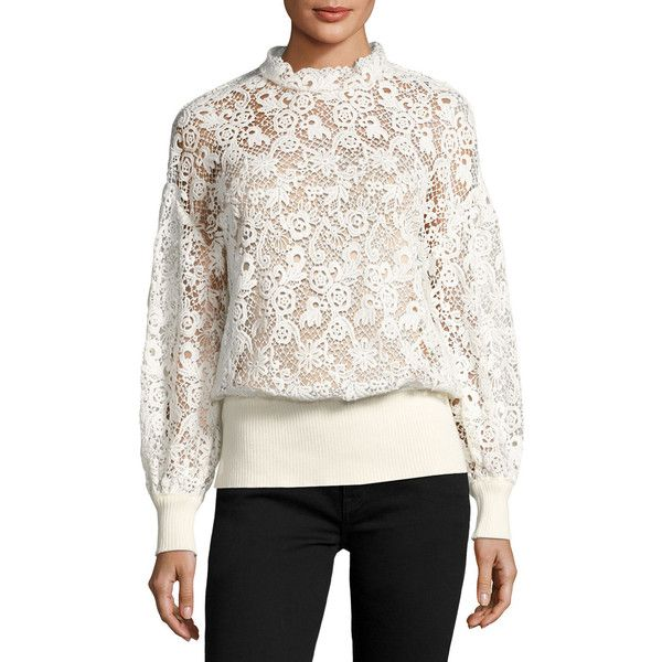Burberry LACE DETAIL BLOUSE (17.227.390 IDR) ❤ liked on Polyvore featuring tops, blouses, white, long sleeve pullover, loose blouse, white button blouse, long sleeve blouse and scalloped blouse