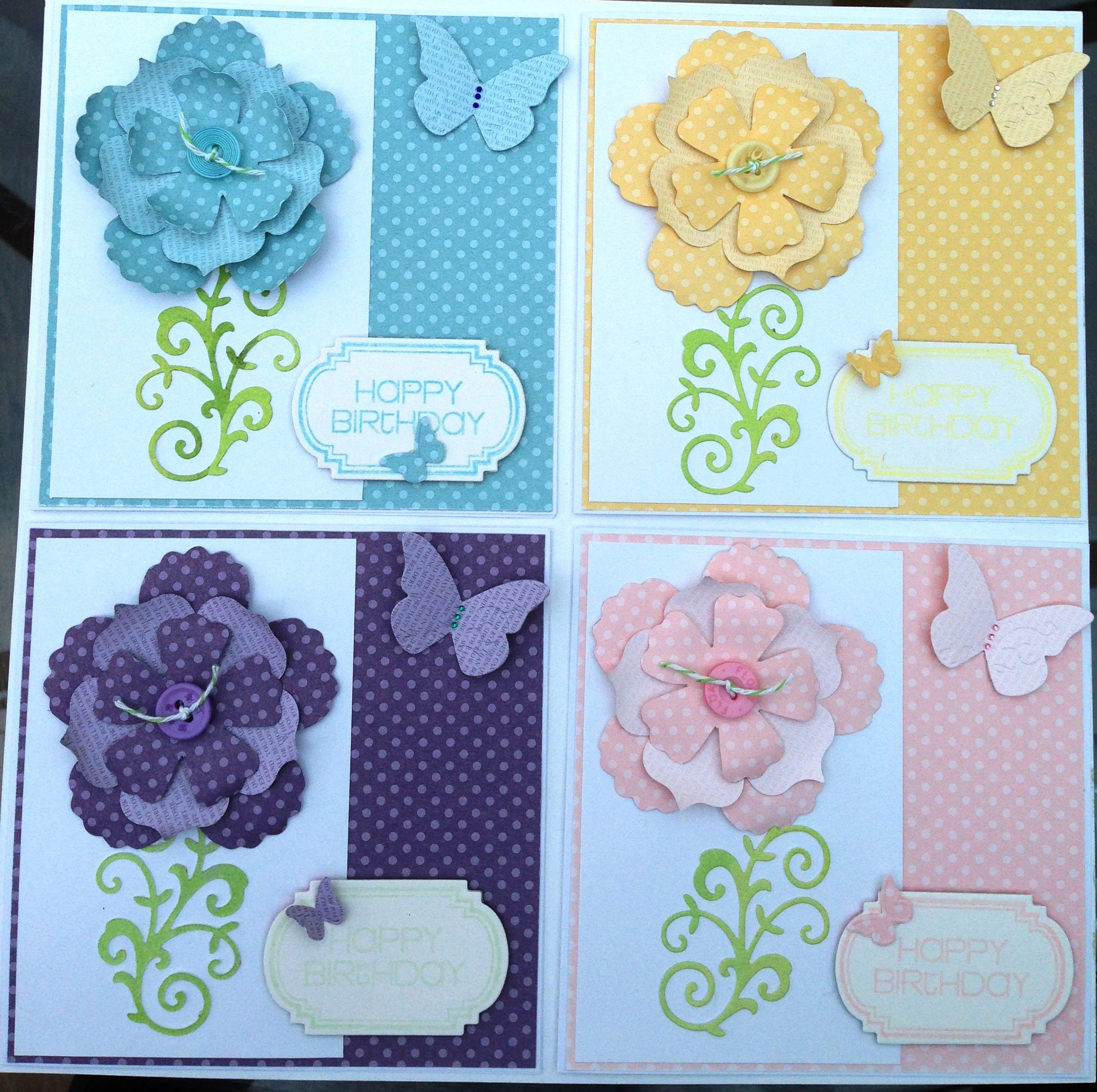 Happy birthday cards with dimensional flowers and butterflies