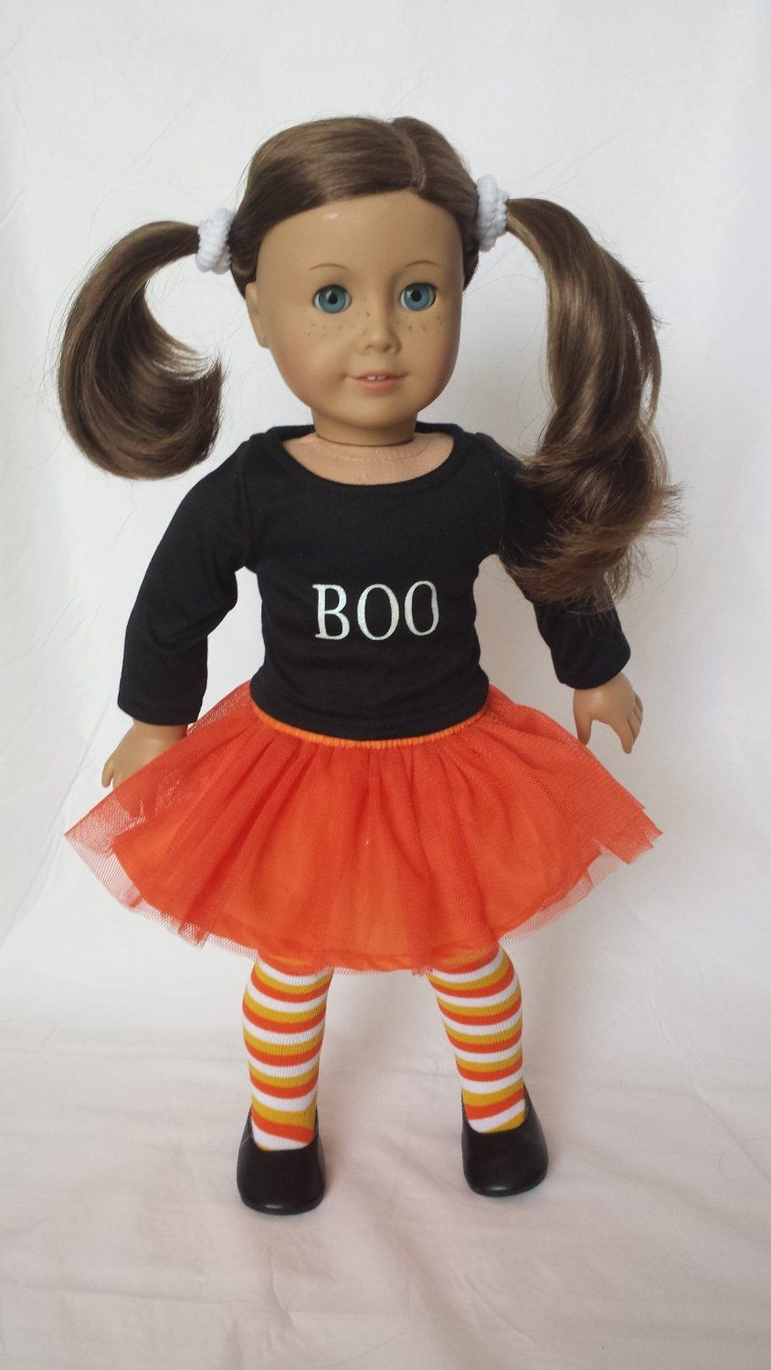 "Amazon.com: ""BOO"" HALLOWEEN-FALL OUTFIT FOR AMERICAN GIRL DOLLS 18 INCH DOLL CLOTHES- COMPLETE WITH TIGHTS AND SHOES: Toys & Games"