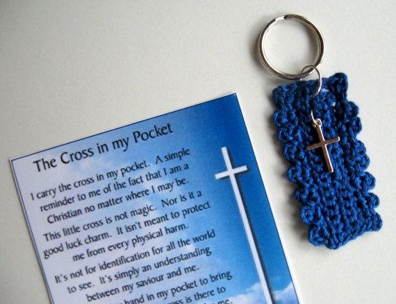 Cross in My Pocket Key Chain  silver cross crochet by knittykittie, $8.50