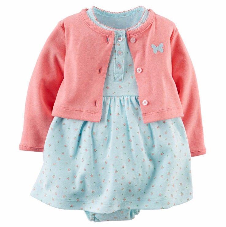 baby girls clothing kids 100% cotton Jumpsuit + dress + shorts dress newborn products 3
