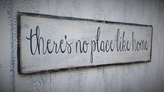 Theres No Place Like Home Wood Sign / Inspirational Wooden Sign / entryway wall decor / sign for home / inspirational wall art / farmhouse  #woodendiy #woodsigns