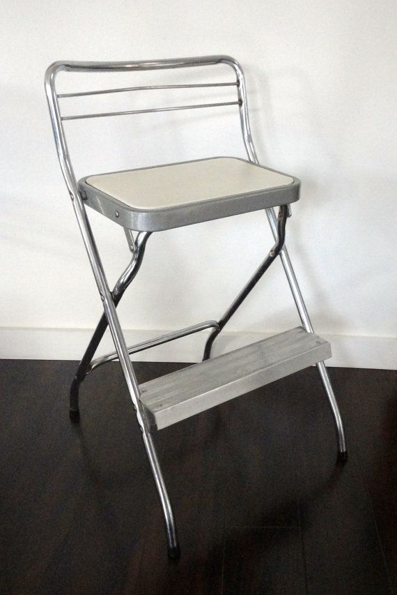 Wondrous Vintage Step Stool Chair Cosco Chrome And White Folding Squirreltailoven Fun Painted Chair Ideas Images Squirreltailovenorg