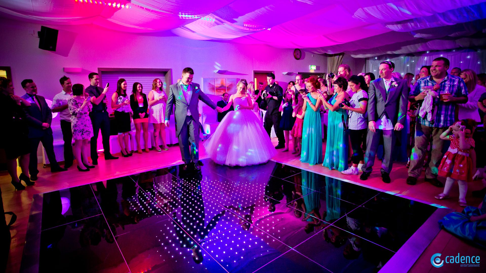 That all important first dance with LED Dancefloor, room dressing and colour washing.