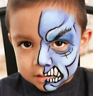 Half face | Face Paint | Monster face painting, Monster face