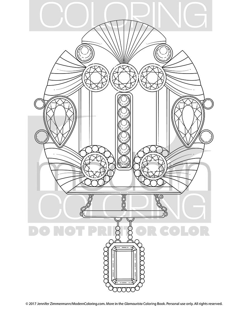 Check it out! Faceted Gem Coloring Page Download