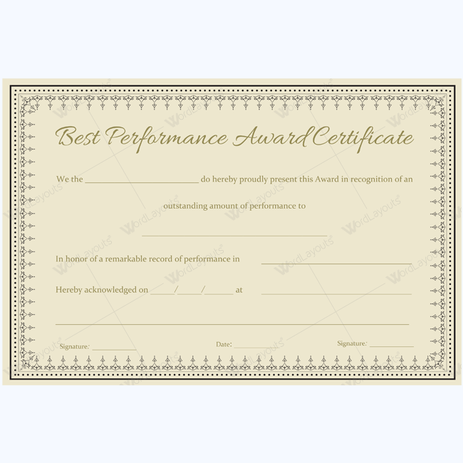 Best Performance Award Certificate Template For Students