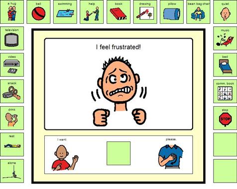 Boardmaker Share I feel frustrated! choice board. Must