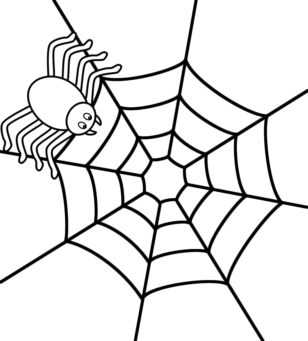 spider on a web coloring page halloween