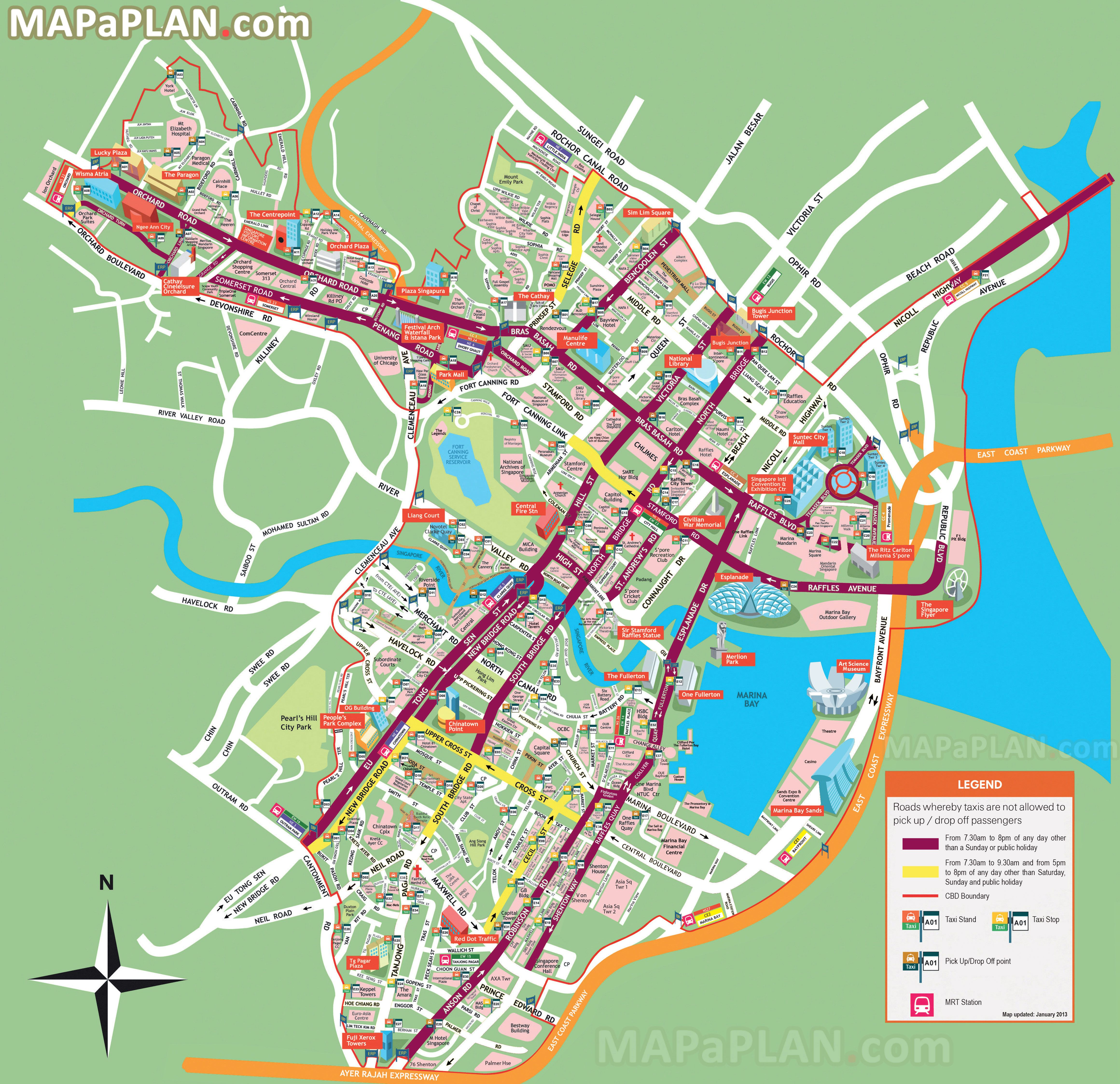 city centre must see places to visit detailed street travel plan singapore top tourist attractions