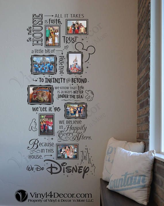 Disney In This House We Do Disney Photo Collage 4 X 6 And 5 X 7 Photos Adhere With Glue Dots Decal Large Wall Disney Room Decor Disney Home Decor Disney Home