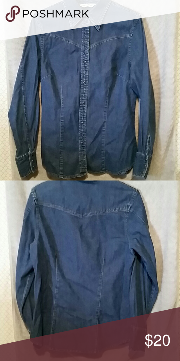 Eddie Bauer shirt size tall medium Cute snap up Jean shirt