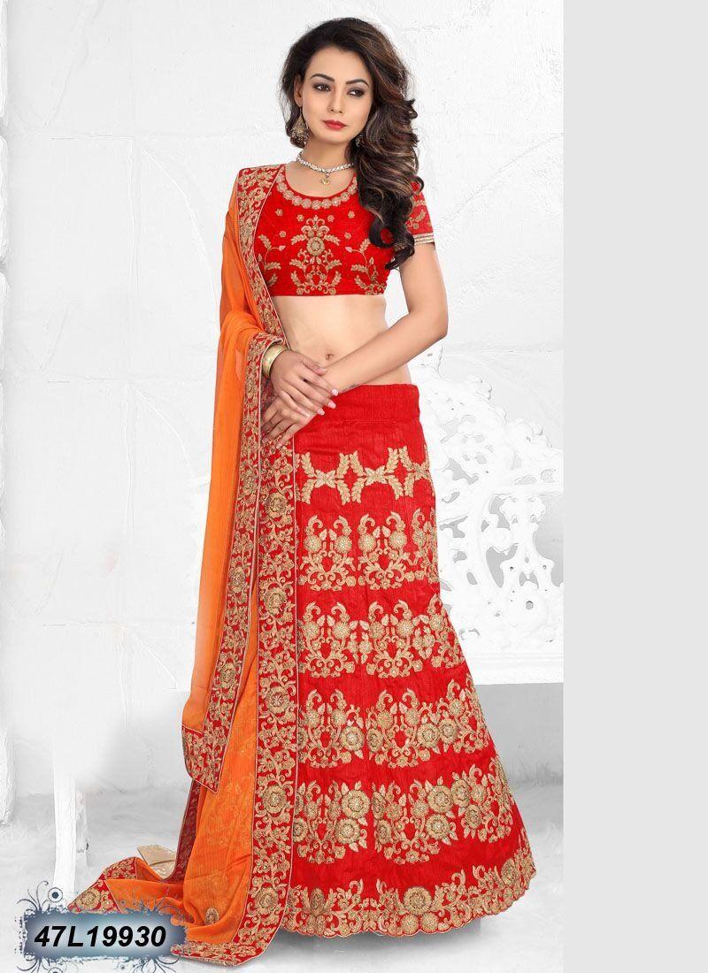 Go ethnic this season with this beautiful red color designer lehenga