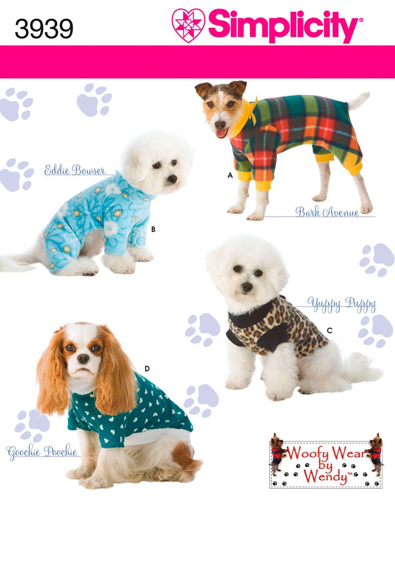 Dog clothes in three sizes sewing pattern 3939 simplicity penny is dog clothes in three sizes sewing pattern 3939 simplicity penny is getting ku fleece jammies for jeuxipadfo Image collections