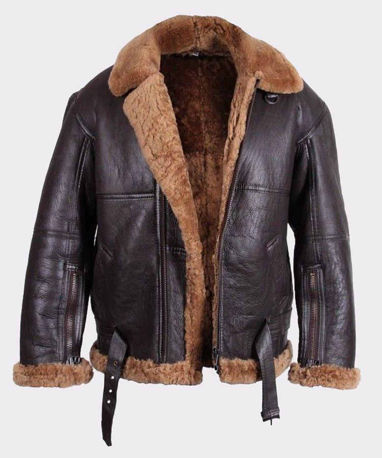 Men/'S Aviator B3 Ginger Shearling Sheepskin Gilet Leather Bomber Flying Jacket